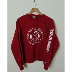 Champion Small Boston Crewneck Sweatshirt Red